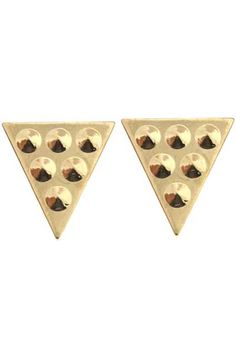 Golden Triangle Stud Brooches. Description  Brooches,featuring a gold-tone,triangle design with six studs embellishment,a gold-tone metal spiked studs,a novelty and luxuriant design,a bullet pin fastening finish. Fabric Alloy #Romwe