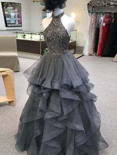 2018 A Line Prom Dress High Neck Silver Long Prom Dress #VB2095 Cute Prom Dresses, Gala Dresses, 15 Dresses, Quinceanera Dresses, Homecoming Dresses, Nice Dresses, Evening Dresses, Dress Outfits, Dress Prom