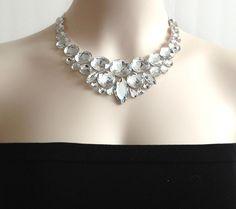 bib rhinestone necklace crystal clear bib rhinestone di BienBijou, $26.00