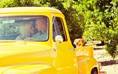 Pickup Truck Engagement Session.... love the dog in the back! Perfect :)