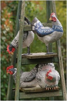 Paper mache chickens are perfect for those who dream of having chicks, but don't want the responsibility... no directions on site.