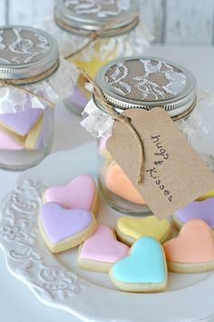 Heart Cookies in a Jar - Glorious Treats   #ValentinesDay #cookies #heart