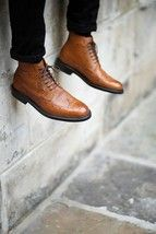 Brown High Ankle Full Brogue Toe Handcrafted Real Leather Lace up Boots US 7-16 - £123.59
