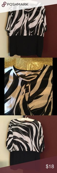 Ladies Black & White Abstract Blouse Elastic at sleeve / peekaboo opening at front / sheer top / 100% rayon/ short sleeve / balloon sleeve / black and white Tops Blouses