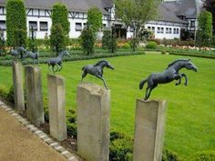I want that awesome horse sculpture set. Dream Stables, Dream Barn, Horse Stables, Horse Barns, Equestrian Decor, Equestrian Style, Backyard Fences, Yard Fencing, Horse Fencing