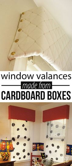 Cardboard Window Cornice Valance How to make a window valance using the cardboard from boxes. Budget friendly window treatments for your decorHow to make a window valance using the cardboard from boxes. Budget friendly window treatments for your decor Window Cornices, Valences For Windows, Window Coverings, Window Blinds, Easy Window Treatments, Window Cornice Diy, Basement Window Treatments, Porch Windows, Diy Casa