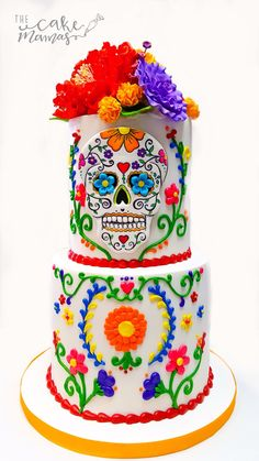 How will you celebrate the fall holidays coming up? What a better way than with this amazing hand pipped buttercream day of the dead/fiesta themed cake to add to any halloween party! Call or email to book yours today! Mexican Fiesta Cake, Mexican Fiesta Birthday Party, Mexican Party, Day Of The Dead Cake, Day Of The Dead Party, Sugar Skull Cakes, Halloween Cakes, Halloween Party, Movie Cakes