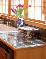Ceramic tile with wood trim