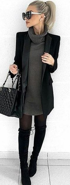 P&D MODEBERATUNG empfiehlt Styling in Black#schwarz#spring #outfits woman in black cardigan