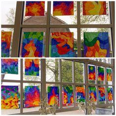 Warme en koude kleuren. Blad in vlakken verdeeld en ingekleurd met stift. Gemaakt door mijn groep 8.