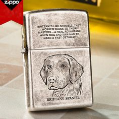 Japanese Zippo Antique Silver Brittany Spaniel Lighter
