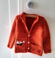 Vossenvest haken - CreaChick Crochet cardigan with fox for a little kid. Crochet Baby Jacket, Crochet Cardigan, Baby Blanket Crochet, Baby Patterns, Knitting Patterns, Crochet Patterns, Crochet Bebe, Crochet For Kids, Free Crochet