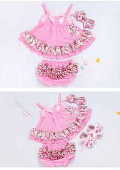 b168681eace5d2 US $5.72 68% OFF|Zomer Stijl Baby Swing Top Rose Baby Meisjes Kleding Set  Baby Ruche Outfits Bloomer Hoofdband Pasgeboren Meisje Kleding Sets in  Zomer Stijl ...
