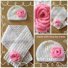 Nadat ik een Loopy Love muts met bloem  had gemaakt voor de dochter van mijn vriendin, vroeg ze me of ik er niet een leuke sjaal bij kon ma...