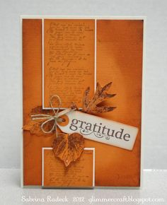 handmade Thanksgiving card from Aspiring to Creativity ... monochromatic rusty oranges ... broken column with die cut leaves and sentiment tag filling the break ... great design!