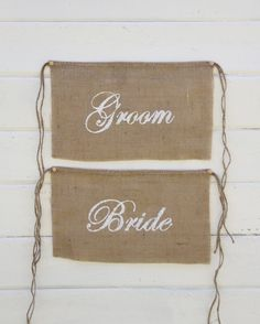 Burlap Wedding Chair signs - BRIDE & GROOM chair signs - Mr and Mrs chair signs - Wedding chair burlap banner. $20.00, via Etsy.