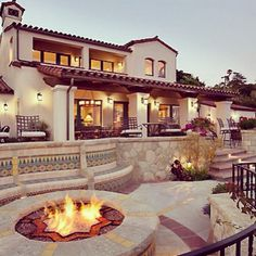 Wonderful back deck with fire pit (pool off to right, I believe... too bad it's not in the pic!)