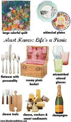 Picnic Essentials via Blonder Ambitions. Picnic. Classic. Preppy. Fun. Style.