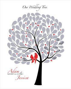 Personalized Wedding guest book tree Signature Tree, Love birds in black white red silver colors, size 16x20 for up to 100 guests. $45.00, via Etsy.