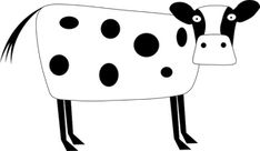 Vector image of a white cow with black dots. Cow Clipart, White Cow, Black Dots, Hello Kitty, Clip Art, Pictures