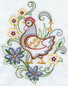 A hen and flowers machine embroidery design.