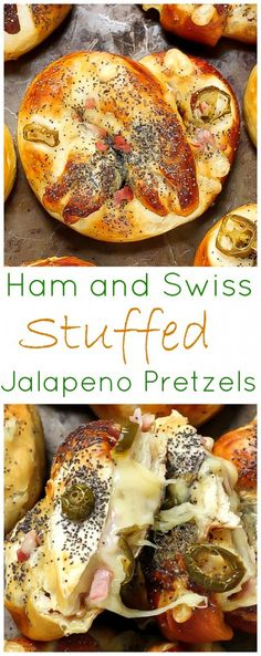 Ham, Swiss, and Jalapeño Stuffed Pretzels - WHOA! These are incredible! And easy enough to make at home!