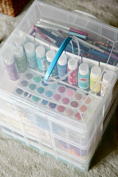 I am in love with these Snapware containers. They make organizing so easy, and this is a great idea for craft storage for kids, or just for a small space. IHeart Organizing: Our Secret Craft Storage