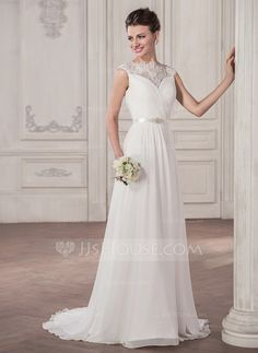 A-Line/Princess Scoop Neck Sweep Train Chiffon Wedding Dress With Ruffle Beading Sequins Bow(s) (002056953)