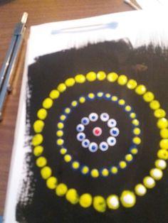 Aboriginal art met wattenstaafjes