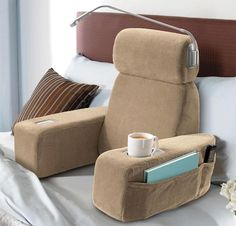 "Bed chair with reading light, and cup holder!! Oh MY GOODNESS I NEED THISS to stop my ""I promise to sit up in bed"" that turns into laying down in a sitting position... aka sleeping."
