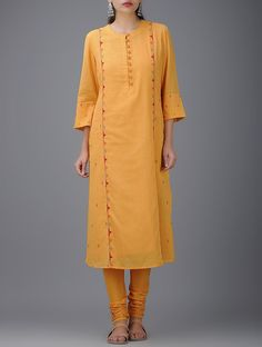 Buy Mustard Hand Embroidered Cotton Mul Kurta with Slip (Set of 2) Women Kurtas Online at Jaypore.com