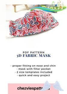 Pdf Pattern 3D Fabric Face Mask with Filter PocketContoured | Etsy  <br> Easy Projects, Filter, Pdf, Face, Fabric, Pattern, Etsy, Tejido, Faces