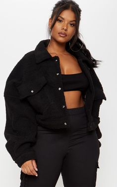 Plus Black Cropped Borg Trucker Jacket This borg jacket is perfect for wrapping up warm in style. Featuring a black borg material in a flatte. Black Women Fashion, Curvy Fashion, Plus Size Fashion, Girl Fashion, Curvy Girl Outfits, Mom Outfits, Plus Size Outfits, School Outfits, Looks Plus Size