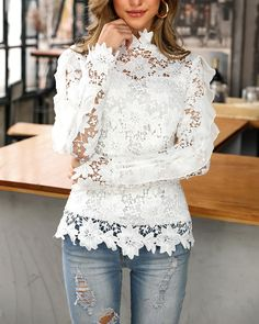 Ruffles Design Round Neck Long Sleeve Blouse - Just Shop Trend Fashion, Fashion Outfits, Ruffles, Lace Tops, Lace Blouses, Beautiful Gowns, Mock Neck, Pattern Fashion, Floral Lace