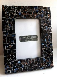 Mosaic Picture Frame  5 x7  Black Blue Brown by GreenStreetMosaics, $25.00