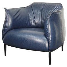 Chilton PU Accent Chair Black Steel Legs, Distressed Blue/453021P-D4-BL