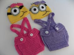 Minion purple or pink crochet outfit- halloween costume, hat,diaper-Baby girl Crochet Despicable Me Outfit-newborn Halloween costumes by StephanDesign on Etsy https://www.etsy.com/listing/162966903/minion-purple-or-pink-crochet-outfit
