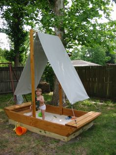 The Sand Boat. From plans I found in a book and made out of locally sourced Cypr. The Sand Boat. Kids Outdoor Play, Outdoor Play Spaces, Backyard For Kids, Outdoor Fun, Outdoor Decor, Natural Playground, Backyard Playground, Backyard Games, Outdoor Projects