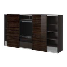 BESTÅ/ INREDA  TV storage combo with sliding doors, black-brown, high gloss brown  $439.00