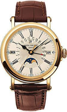 Patek Philippe Perpetual Calendar Moonphase Grand Complication Watches. 38mm 18K yellow gold case, hinged dust covered sapphire crystal back, hand-guilloched dial, self winding perpetual calendar cali