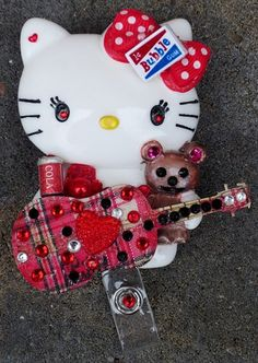 FREE SHIP + 10% OFF Taylor Swift Guitar Hello Kitty Id Badge Reel Lanyard Taylor Swift Guitar, Hello Kitty Collection, Cute N Country, Id Badge Reels, Mom Day, Try Something New, Id Badge Holders, Playing Guitar, Bubble Gum