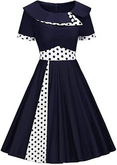Damen Jahre Kleid Audrey Hepburn Rockabilly Cocktailkleid Petticoat Polka Dots Knielang Navy Blau M Cute Prom Dresses, Modest Dresses, Stylish Dresses, 1950s Dresses, Latest African Fashion Dresses, African Print Fashion, Women's Fashion Dresses, Pin Up, Vintage Fashion 1950s