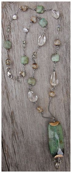 necklace with large fluorite bead pendant, also with quartz, pearls, citrine, prehnite, handmade beadcaps and sterling silver