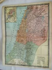 1904 genuine PALESTINE country COLORED MAP MIDDLE EAST Antique ISRAEL WORLD