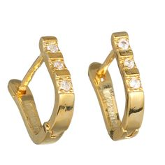 Gold Plated 925 Sterling Silver Crystal Hoop Solid Earrings Eardrops Jewelry New