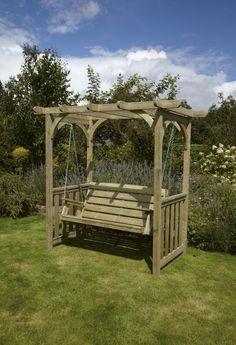 Wonderful garden design with four pillar pergola roof Wooden Garden Swing, Garden Swing Seat, Wooden Garden Furniture, Garden Seats, Pergola With Roof, Pergola Plans, Pergola Kits, Gazebo, Pergola Ideas