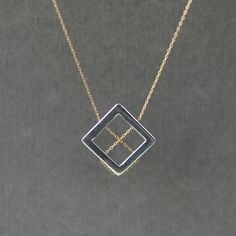 Neat! Square Lines Necklace Mixed Metal Geometric Geometry Sterling Silver Gold Handmade Jewelry. $72.00, via Etsy.