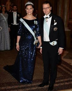 Crown Princess Victoria and Prince Daniel, Swedish Royals at the King's Dinner for 2015 Nobel Prize Winners