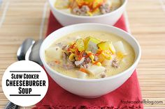 Slow Cooker Cheeseburger Soup - Taste and Tell