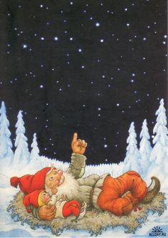 Gnomies at a night exploring and teaching all the wonders of the stars. artist Rolf Lidberg